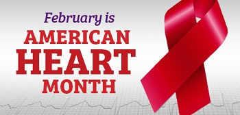 February is American Health Month with a red ribbon